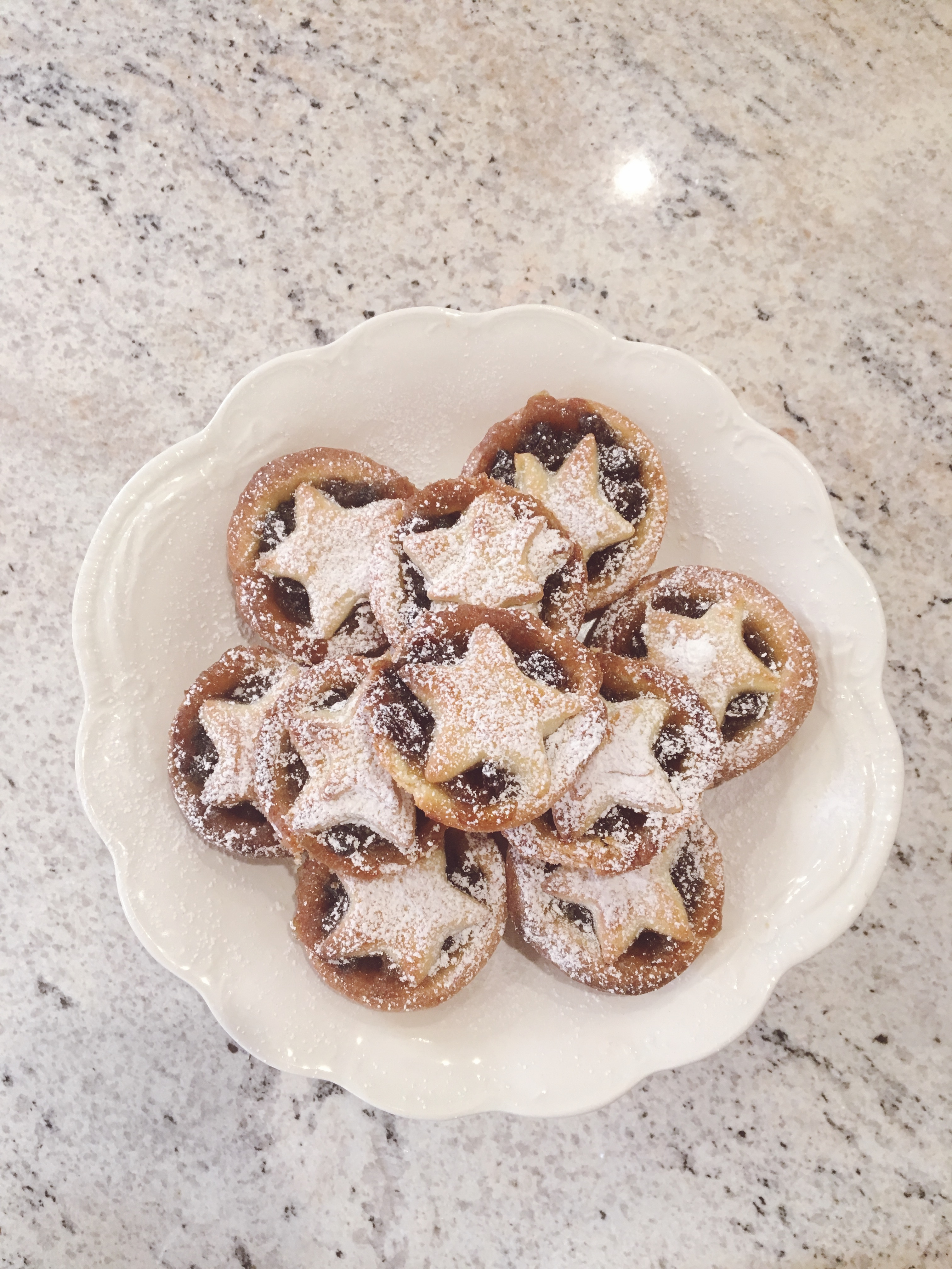 Mince pies on a cake stand