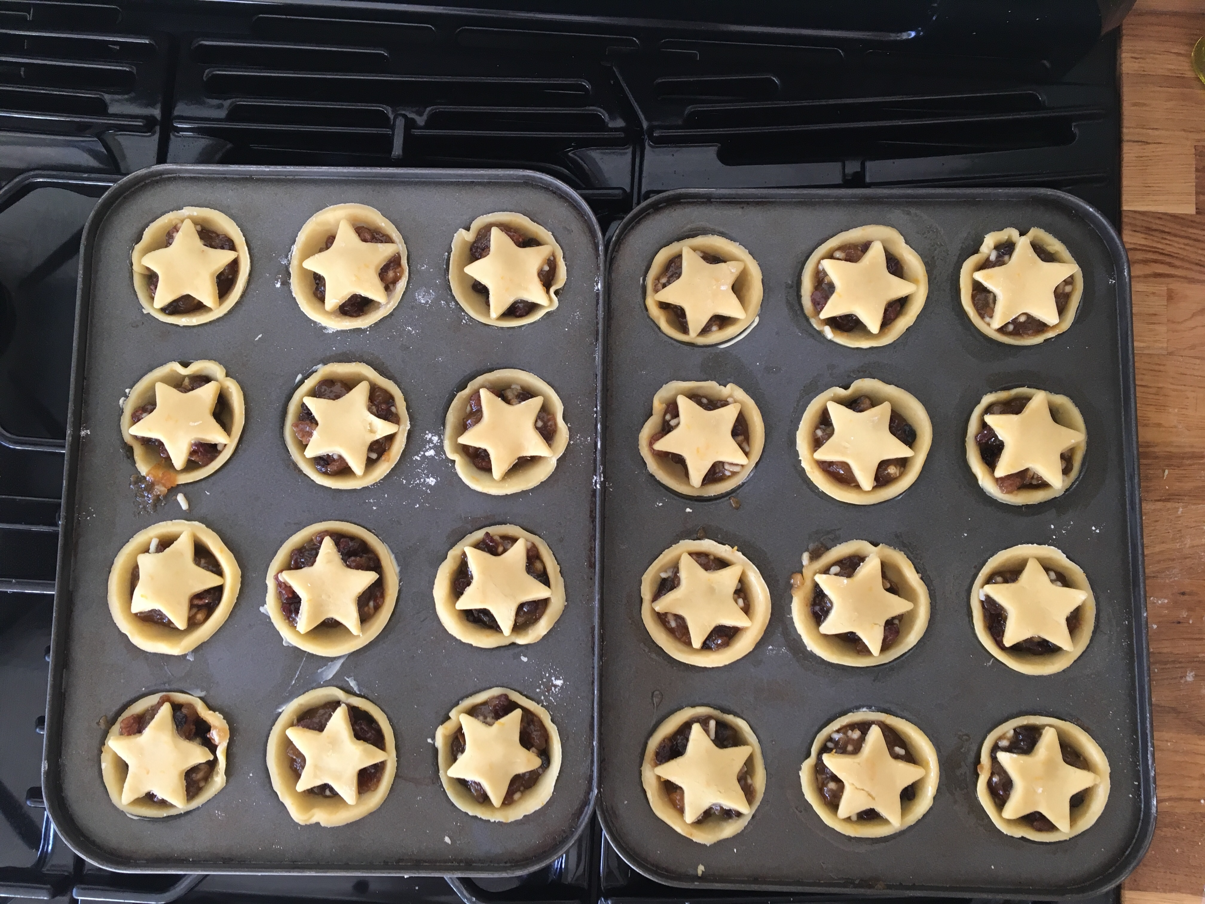Mince pies ready to go in the oven