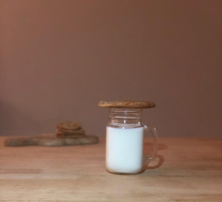 Lactation Cookies on a glass of milk